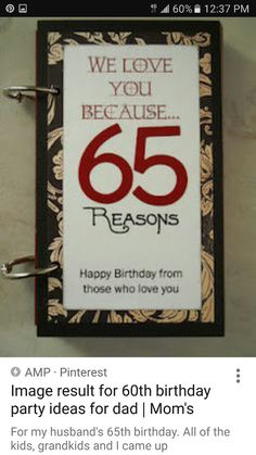 65th Birthday Party Ideas 60th Mom Gifts Bday