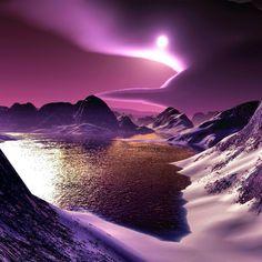 2048x2048 Wallpaper mountains, lake, bottom, night, moon, light, clouds, graphics