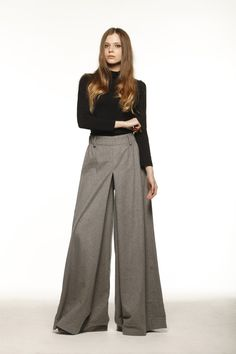 Casual Cashmere Elastic Waist Wide leg Long Skirt Pants in Grey - NC477