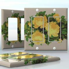 DIY Do It Yourself Home Decor - Easy to apply wall plate wraps | Cross-Stitch Imitation  Look like stitched flowers  wallplate skin sticker for 2 Gang Decora LightSwitch | On SALE now only $4.95