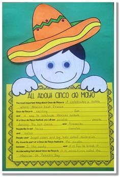 Cinco de Mayo Craft FREEBIE - Great for May in your or grade classroom or homeschool! Here is a fun Cinco de Mayo craftivity for your students to do after they have studied about Cinco de Mayo. Class Activities, Language Activities, Holiday Activities, Classroom Activities, Classroom Ideas, Lessons For Kids, Projects For Kids, Art Projects, Fun Crafts