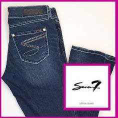 "SEVEN7 Jeans ""Rocker Slim"" With Contrast Stitching ""Rocker Slim"" style jeans from Seven7. Feature white contrast stitching on seams, rhinestone button and beaded embellishment on back pockets. Low-rise. Soft denim tooExcellent condition! Seven7 Jeans"