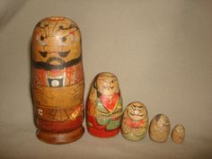 """Early Antique Japanese Samurai Warrior 5-Piece Wood Nesting Doll Set ~ 4-3/4"""" high by PastPossessionsOnly on Etsy"""