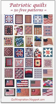 50 free patterns for Patriotic Quilts Quilt Inspiration Star Quilt Blocks, Star Quilt Patterns, Star Quilts, Patriotic Quilts, Patriotic Crafts, Patriotic Bedroom, Patriotic Party, July Crafts, Blue Quilts