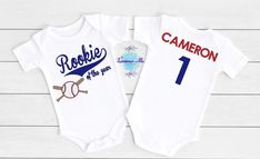 Rookie Of The Year Personalized Boys First Birthday Onesie Custom Baby Onesies, Boy First Birthday, Little Boys, First Birthdays, Color Schemes, Sons, Size Chart, Tights, Clothes