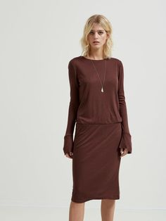 MODAL - LONG SLEEVED DRESS, Puce, large