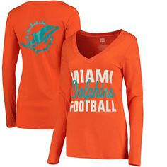5830b9684 Miami Dolphins Women s Blitz 2 Hit V-Neck Long Sleeve T-Shirt - Orange