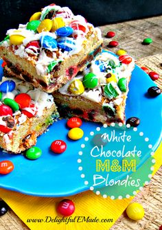 White Chocolate M&M Blondies | www.DelightfulEMade.com | If you love M&M's and White Chocolate, you'll LOVE these cookie bars!  Perfect for a bake sale, after school snack, or classroom treat! | #M&M's #White #Chocolate #bar #blondie