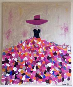 C'est un tableau moderne qui représente une femme dans une robe aux couleurs flamboyantes sur une toile de dimension 55x46. Peinture contemporaine et moderne. Les couleurs ut - 17084723