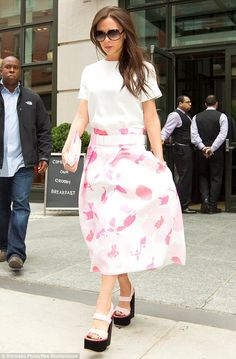 Thinking pink: Victoria was like a breath of fresh spring air during an earlier outing on June 4, 2015