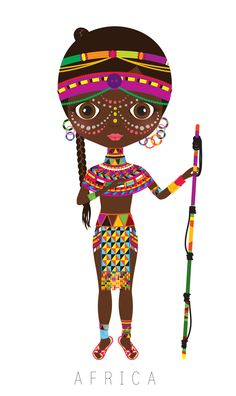 Africa Travel Doll ~ by Veronica Alvarez Illustrations, Illustration Art, Costume Africain, African Girl, Thinking Day, We Are The World, Africa Travel, World Cultures, Folklore