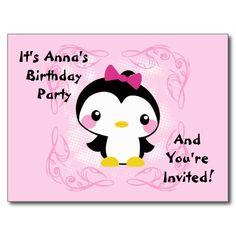 Cute Baby Penguin Birthday Invitation Postcard