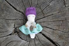 Textile Brooch doll in a matchbox mini doll cloth by GabYhandmade