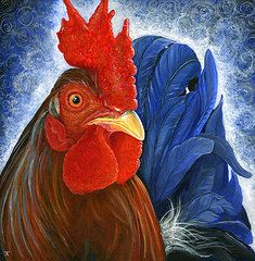 Rooster Paintings - Shake Your Tail Feathers  by Tracy Anderson