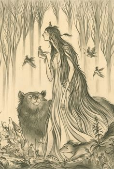 Lovely illustration by Cory Godbey called the Elf Mother.