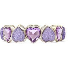 Liz Claiborne Purple & Silver-Tone Heart Flex Bracelet ($14) ❤ liked on Polyvore featuring jewelry, bracelets, accessories, hearts, heart bangle, purple bangles, valentines day jewelry, liz claiborne and heart jewellery