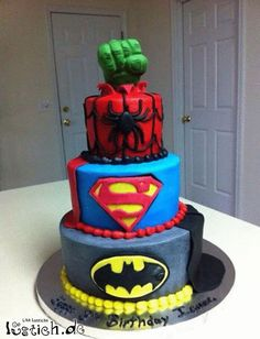 Funny pictures about Awesome superhero cake. Oh, and cool pics about Awesome superhero cake. Also, Awesome superhero cake. Fancy Cakes, Cute Cakes, Marvel Birthday Cake, Marvel Cake, Birthday Cakes, Marvel Dc, Happy Birthday, Marvel Heroes, Sons Birthday