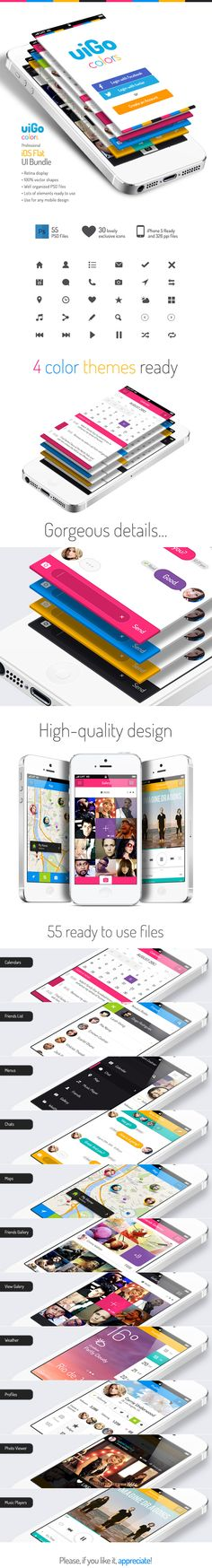 스마트폰에서 튀어나오는 화면이 매우 많은 구성으로 되어있는 것 처럼 보이도록 디자인되었다.