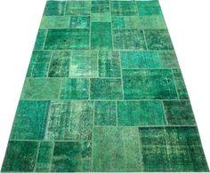 Green Patchwork Carpet/Rug No. 5055  http://www.alrug.com/5055