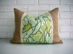 Burlap Lace Decorative Pillow Cover - Mint Green Boho Throw Cushion  Like the mix fabric with burlap