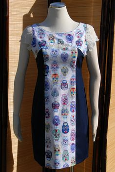 Deedee Dress Festive Sugar Skulls with White Lace and by Jezenya