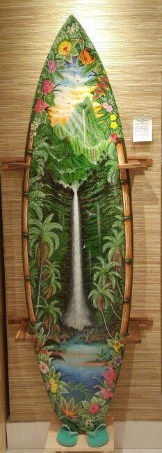 Painted Surfboard (by Zoe), Beautifully done, Hawaii ~ Waterfall ~ Tropical Surfboard Painting, Surfboard Art, Tropical Art, Tropical Vibes, Beach Art, Ocean Beach, Surfing Photos, Surf Decor, Surfer Style