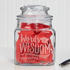 Personalized Words of Wisdom Graduation Jar - Great Guest Book idea for a Graduation Party! Have the guests write down their Graduation Wishes & Memories for the graduate!