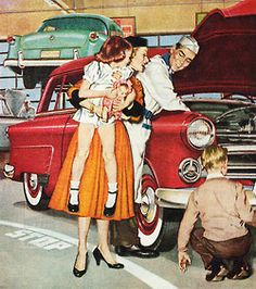 Service Department - detail from 1953 Ford ad.