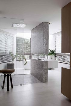Modern Bathroom ~ Love the windows, light, simplicity, and uniqueness ~ H Residence by Utwentysix Design Studio | Home Adore