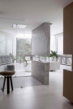 Modern Bathroom ~ Love the windows, light, simplicity, and uniqueness ~ H Residence by Utwentysix Design Studio | Home Adore