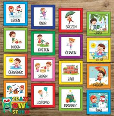 Pexeso s ročními obdobími a měsíci v roce v ČEŠTINĚ Crazy Owl, Montessori, Teaching, Education, Frame, America, Picture Frame, Onderwijs, Frames