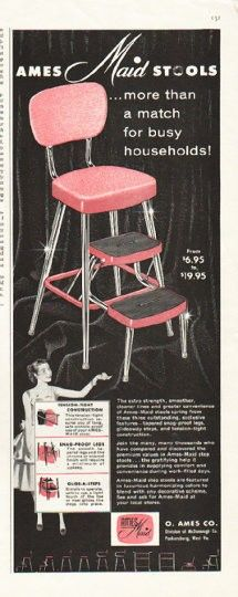 """1956 AMES-MAID STOOL vintage magazine advertisement """"more than a match"""" ~ Ames-Maid Stools ... more than a match for busy households! ... O. Ames Co. - Division of McDonough Co. - Parkersburg, West Va. ~"""