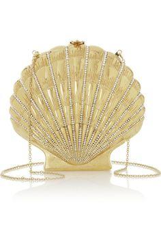 Charlotte Olympia | Shell Shocked gold-tone clutch | NET-A-PORTER.COM