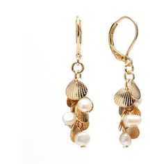 LC Lauren Conrad Simulated Pearl & Seashell Cluster Drop Earrings ($9.80) ❤ liked on Polyvore