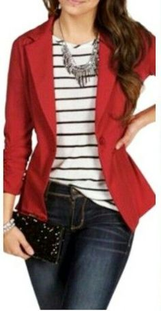 Polo a rayas y saco rojo | Cabelos | Pinterest | Stylists, Blazers and Red blazer