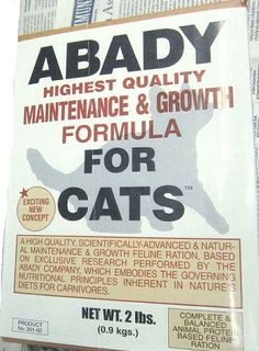 "The Robert Abady Dog Food Co., LLC Recalls ""Abady Highest Quality Maintenance & Growth Formula for Cats"" Because of Possible Health Risk http://www.fda.gov/Safety/Recalls/ucm392621.htm"