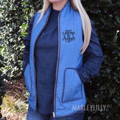 Monogrammed Chambray Quilted Vest