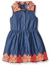 Girls Rule Girls' Dress Crochet Lace Denim: Girls Rule offers cute and comfortable styles with quality construction. She is adorable in this lightweight denim sleeveless dress with contrasting crochet lace trim. Cute Girl Dresses, Cute Girl Outfits, Little Girl Dresses, Kids Outfits, Girls Frock Design, Baby Dress Design, Kids Frocks, Frocks For Girls, Jeans Frock