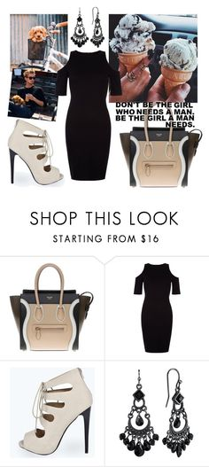 """""""Happily"""" by maryanacoolstyles ❤ liked on Polyvore featuring CÉLINE, New Look, Boohoo and 1928"""