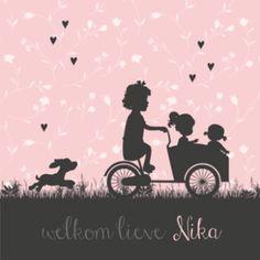 Hip geboortekaartje voor een 3e kindje met silhouette van bakfiets en zusjes.