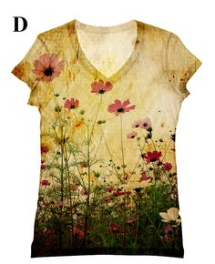 These are my favorite flowers!!!    woman  PLUS SIZE flower all over print  top t shirt by hellominky, $33.95