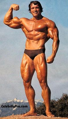 Arnold Schwarzenegger in his bodybuilding Mr. Universe days
