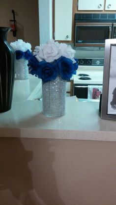 My DIY royal blue and white wedding centerpieces