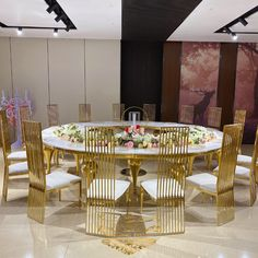 New design golden stainless steel leg half moon MDF top center antique luxury wedding table, View wedding table, Tanabata Product Details from Foshan Hardware Funiture Co., Ltd. on Alibaba.com Stainless Steel Table, Tanabata, Dining Table Design, News Design, Luxury Wedding, Wedding Table, Bedroom Ideas, Master Bedroom, Hardware