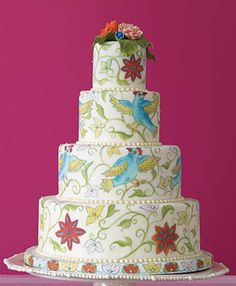 Ruth Seidler's cake interprets folk-art images. Hand-painted rolled fondant with sugar-paste bead trim and sugar flowers.