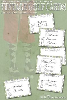 bnute productions: Free Printable Vintage Golf Cards - Famous Golf Courses