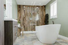 Alternatives to Tiling Your Bathrooms - Waterproof Wallcoverings, Bathroom inspiration from decorative waterproof wallpaper, to wall/shower panels. Bad Inspiration, Bathroom Inspiration, Waterproof Bathroom Wall Panels, Bathroom Wall Coverings, Bathroom Paneling, Wall Panelling, Wood Bathroom, Small Bathrooms, Bathroom Vanities