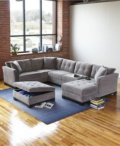 no Elliot Fabric Sectional Living Room Furniture Collection - Sectional Sofas - Furniture - Macy's Living Room Sectional, New Living Room, Home And Living, Living Room Decor, Fabric Sectional, Sectional Sofas, Cozy Living, Small Living, Modern Living