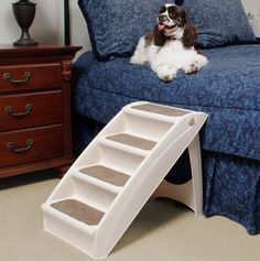 Pet Stairs Steps - Dog or Cat Portable Folding Ramp for Couch, Bed, or Chair