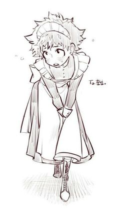 Midoriya dressed as a maid. Boku no hero academia. Buko No Hero Academia, My Hero Academia Memes, Hero Academia Characters, My Hero Academia Manga, Anime Characters, Anime Boys, Manga Anime, Maid Outfit Anime, Anime Maid